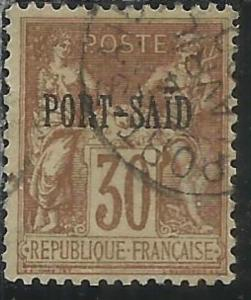 PORT SAID 1899 1900 NAVIGATION AND COMMERCE CENT. 30 USATO USED OBLITERE'