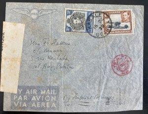 1939 Kabale Uganda British KUT Airmail Censored Cover To Tel Aviv Palestine