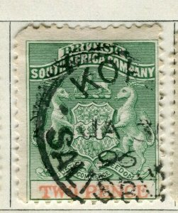 RHODESIA; 1891 early South Africa Company issue used 2d. value