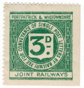 (I.B) Portpatrick & Wigtownshire Joint Railways : Letter Stamp 3d