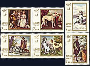 Ajman Michel 271A-276A, MNH, Paintings of Hunting with the Dogs