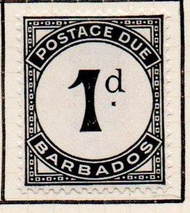 Barbados Sc J2 1934 1d  black Postage Due stamp mint