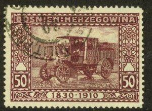 BOSNIA AND HERZEGOVINA 191 50h TRUCK Franz Joseph Birthday Jubilee Sc 58 VFU