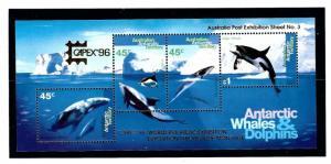 Australian Antarctic Terr L97c MNH 1995 S/S with CAPEX O/P