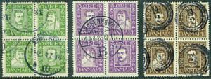 DENMARK  Scott 167a, 171a, 175a used 1924 blocks CV$105