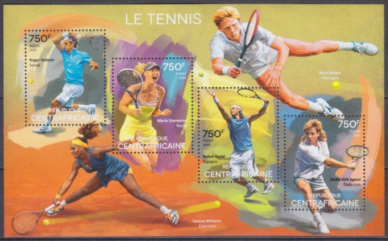 2014 Central African Republic 5165-68KL Tennis 14,00 €