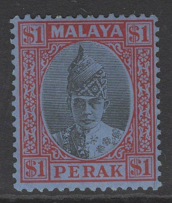 MALAYA PERAK SG119 1940 $1 BLACK & RED/BLUE MTD MINT