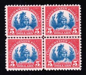 US 573 $5 Head of Freedom Statue Centerline Mint Block 4 XF OG NH SCV $950 (01)