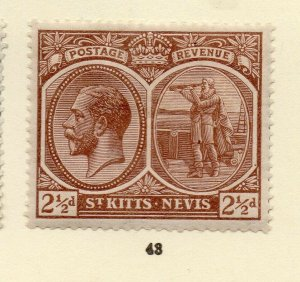 St Kitts Nevis 1920s Early Issue Fine Mint Hinged 2.5d. NW-170452