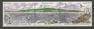 ST PIERRE & MIQUELON 573a MNH NATURAL HERITAGE, 1991, PAIR WITH LABEL