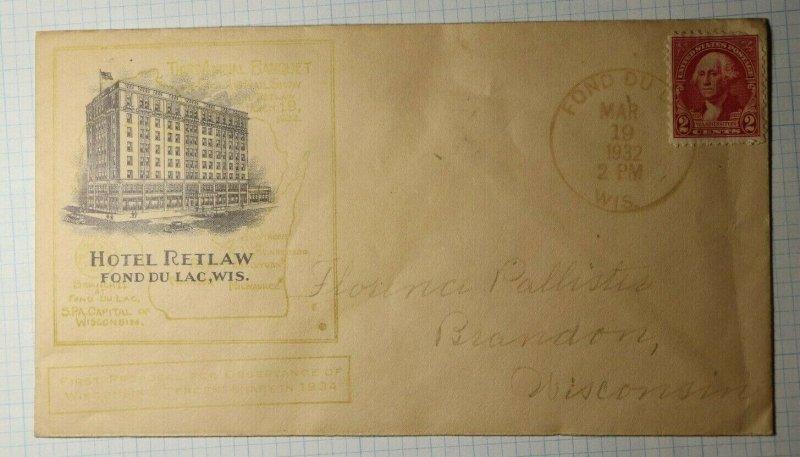 Hotel Retlaw Fond de Lac WI SPA 1932 Philatelic Convention Cachet Cover