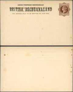 British Bechuanaland O/P on QV 1d Brown Foreign Postcard Mint