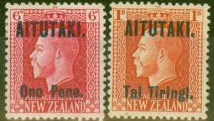 Aitutaki 1916-17 set of 2 SG13-14 P.14 x 13.5 Fine Lightly Mtd Mint