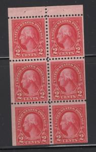 US  1923  Washington Booklet Pane of 6 Stamps 2c Stamp Scott 554c MNH (486)