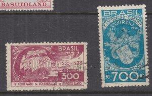 BRAZIL, 1935 Espirito Santo Colonization pair, used.