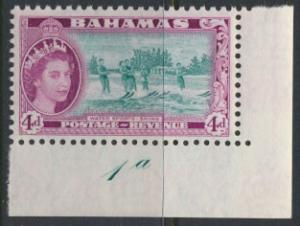 Bahamas  SG 206 SC# 163 MLH corner with control 1a  see scan