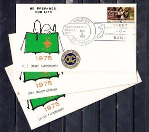 United States, 03/MAY/75. Scout-O-Rama, 3 Different Cites Scout Cancels.