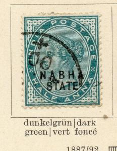 Nabha 1885-86 Early Issue Fine Used 1/2a. Optd 322533