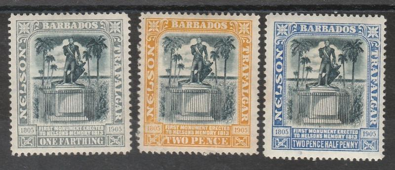 BARBADOS 1907 NELSON SET WMK MULTI CROWN CA