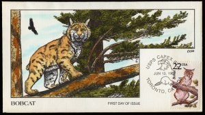 Collins Handpainted FDC North American Wildlife: Bobcat (6/13/1987)
