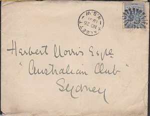 NEW SOUTH WALES 1901 WALGETT numeral cancel + cds on cover to Sydney......53765