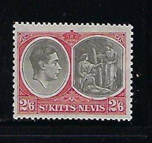ST. KITTS NEVIS SCOTT #87A 1938-48 GEORGE VI 2/6SH- PERF 13X11 1/2  - MINT LH