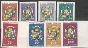 Central African Rep #O1-5, O7-8,O10 Imperf CV $23.60 (C7819)