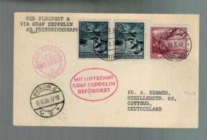 1930 Lichtenstein Graf Zeppelin LZ 127 Postcard cover to Cottbus Germany # C2 C6