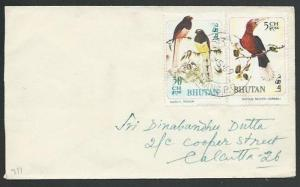 BHUTAN 1969 cover to India - brids franking................................61167