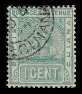 BRITISH GUIANA 1900 VINTAGE 1c #131A VF USED STAMP VERY NICE CANCEL CV $6.