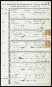 1867 Bank ledger page with R6c revenue stamps handstamp cancels L11