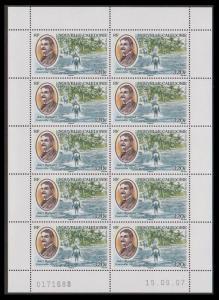 New Caledonia Jules Repiquet Sheetlet of 10v SG#1423 MI#1443