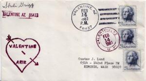United States Arizona Valentine 86437 1981 4-bar  1975-1990  Philatelic.