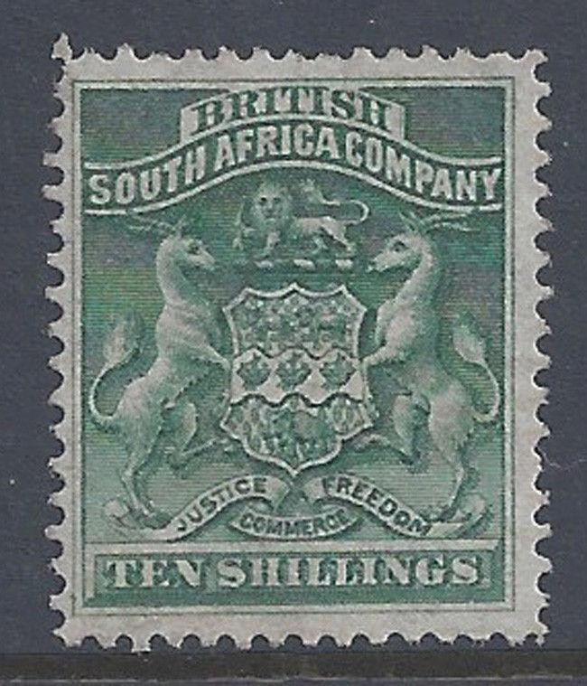 Rhodesia Stamp 1892 10sh Arms Watermarked (SG9) Mint £130/$175