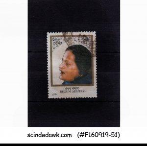 INDIA - 1994 80th BIRTH ANNIV. OF BEGUM AKHTAR SINGER SG#1609 1V USED