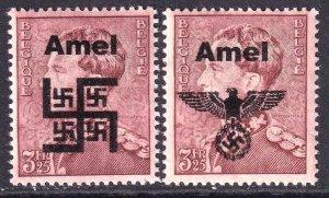 BELGIUM 300 WW2 AMEL OVERPRINTS x2 DIFFERENT OG NH U/M F/VF BEAUTIFUL GUM