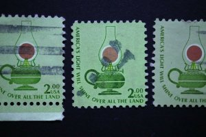 US Sc#1611 $2 tagged untagged tag tagging omitted unlisted used color dark green