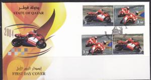 2004 QATAR STATE  FIRST DAY COVER  MOTORCYCLING RACING     MNH