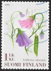 Finland 1308 Used - Flowers - Sweet Pea (Lathyrus odoratus) - In Braille