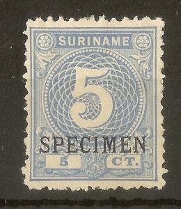 Suriname 1890 5c Specimen Opt Mint