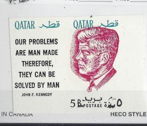 Qatar, MI: 121b, John F. Kennedy Ovpt. Red Imperf Single w/Label, **MNH**