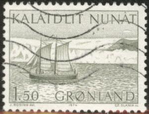 Greenland Scott 84 used Schooner stamp 1974