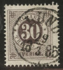 SWEDEN Scott 35a blk brn 1877 Perf 13 CV $1