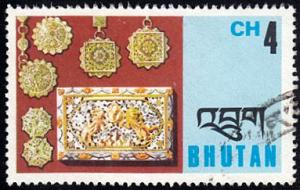 Bhutan # 187 used ~ 4ch Pendants & Box Cover
