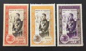 Monaco 1950 #247-9, Prince Rainier, Unused/MH.