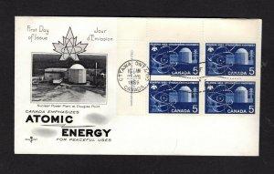 Canada 1966 Atomic Energy #449 plate block FDC Rosecraft cachet unaddressed