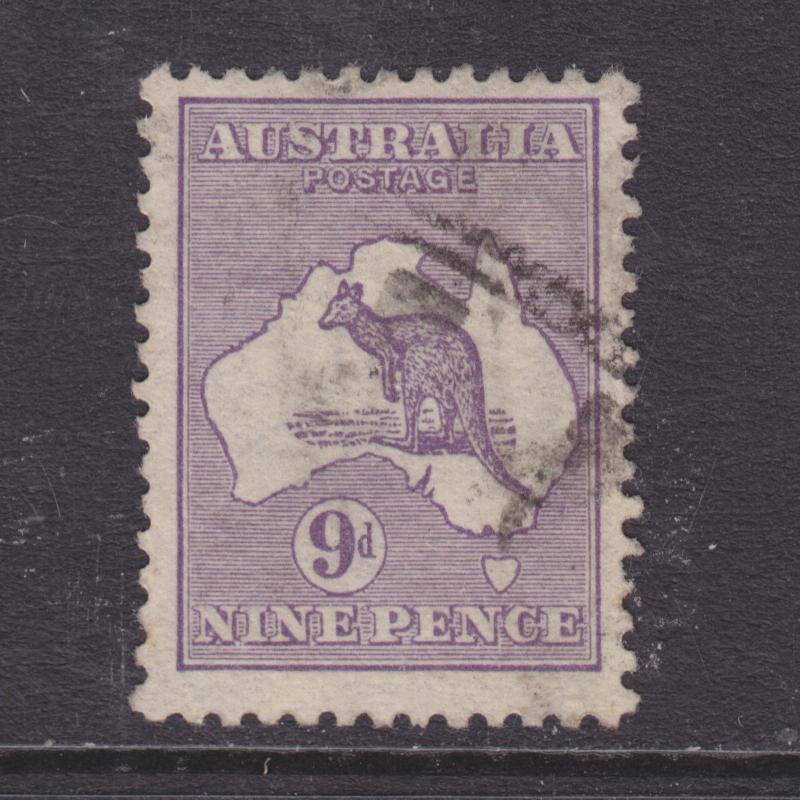 Australia Sc 9 used. 1913 9p purple Kangaroo & Map, F-VF