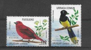 URUGUAY 2008 BIRDS OF MERCOSUR REGIONAL BIRDS PLANTS 2 VAL FUEGUERO URRACA MNH