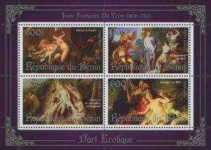 Erotic Art Paintings Jean Francois De Troy Souvenir Sheet of 4 Stamps Mint