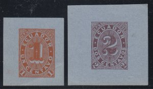 Ecuador 1892 1c & 2c Cut Squares from Wrappers Mint.